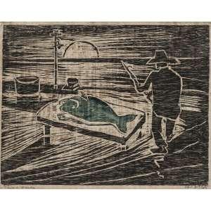 OSWALDO GOELDI - Peixe Verde, circa 1938. Xilogravura à cores. Assinada inferior direito. Titulada e com dedicatória inferior esquerdo. 21 x 27 cm. R$ 20.000 / 30.000