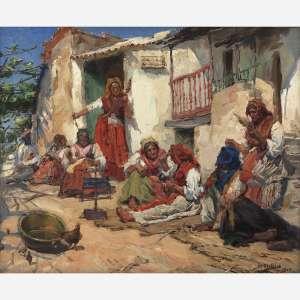 JOSÉ MALHÔA<br />FIANDEIRAS<br />ÓLEO SOBRE TELA.<br />ASSINADO E DATADO 1904 INFERIOR DIREITO.<br />45 X 54 CM.