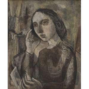 """LASAR SEGALL - FIGURA COM QUADROS, 1949. ÓLEO SOBRE TELA - ASSINADO INFERIOR ESQUERDO. ASSINADO NO VERSO. 73 X 60 CM. <br /><br />EXPOSIÇÃO: """"RETROSPECTIVA DO ARTISTA"""", - MAM RIO DE JANEIRO, 29 DE OUTUBRO A 15 DE DEZEMBRO DE 1967. <br />LITERATURA: REPRODUZIDO NO LIVRO GRANDES ARTISTAS BRASILEIROS: LASAR SEGALL, ART EDITORA, P. 63."""