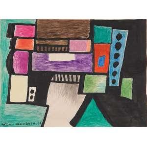 """ANTÔNIO HENRIQUE DO AMARAL<BR>""""Sem titulo""""<br>Guache e lápis de cor sobre papel.<br>Ass. dat. 1966 inf. esq.<br>17,5 x 24 cm.<br>"""