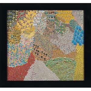 """NELSON LEIRNER<BR>""""Sem titulo""""<br>Colagem de adesivos sobre madeira.<br>Ass.dat. 1999 +12 no verso.<br>110 x 110 cm.<br>"""