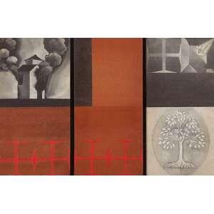 """CLAUDINO NOBREGA<br>""""Sem titulo""""<br> (Triptíco),Têmpera Acrílica sobre linho.<br> 50 x 78 cm.<br> Sem Ass<br>"""