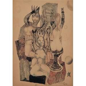 DI CAVALCANTI<br>Composição surrealista<br>Nanquim e aquarela sobre papel<br>51 x 36,5 cm<br>Ass.inf.dir<br>Ex. Coleção Renne Sasson.<br>