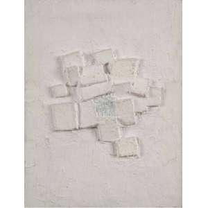 ARTHUR LUIZ PIZA<br>Relevo 173<br>Colagem de cartão e gesso sobre madeira<br>26 x 20 cm<br>Ass.inf.dir<br>Com etiqueta da Estudio Guanabara no verso<br>Com etiqueta LP Art Paris no verso