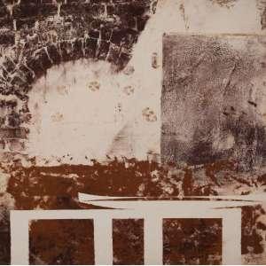 CARLOS VERGARA<br>Boca de forno com pegadas<br>Monotipia sobre lona crua<br>140 x 140 cm<br>Ass. no verso<br>Com etiqueta de Paulo Darzé Galeria de Arte<br>