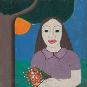 OVIDIO<br>Menina e flores<br>Óleo sobre tela<br>30 x 30 cm<br>Ass.dat. 1973 inf.dir<br>