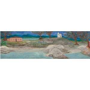 CARLOS LOUZADA<br>Covanca (1912) V<br>Óleo sobre eucatex<br>25 x 80 cm<br>Ass.dat.1975 no centro, ass.dat. no verso<br>