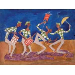 MARIO ZANINI<br>Dançando frevo<br>Guache sobre papel<br>18 x 25 cm<br>Ass.inf.dir<br>