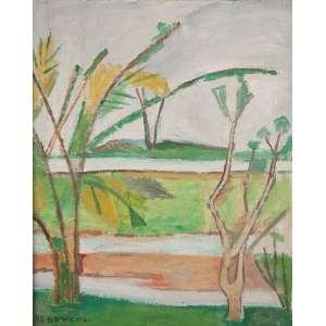 ALDO BONADEI<br>Paisagem<br>Óleo sobre tela. <br>41 x 33 cm <br>Ass.dat. 1973 inf.esq <br>Com etiqueta da Oscar Seráphico Galeria de Arte no verso.