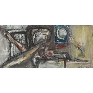 FLÁVIO SHIRÓ<br>Crescente<br>Óleo sobre tela. <br>62,5 x 132, cm <br>Ass.sup.esq.,Ass.tit.dat.2001 no verso. <br><br>