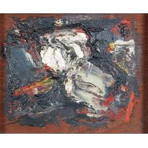 """FLÁVIO SHIRÓ - Sem titulo - Óleo sobre madeira - 16,5 x 19,5 cm - Ass.dat. 1981 e com dedicatória para Jayme Mauricio no inf.dir, ass.dat. 1961/1962 e loc """"Paris"""" no verso."""