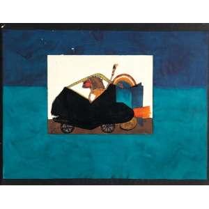 ARTUR BARRIO - Figura no carro - Nanquim e guache sobre cartão colado em papel milimetrado. - 45 x 61 cm - Ass.dat. 1976 inf.esq.