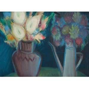 """CARLOS BRACHER - Duas jarras com flores - Óleo sobre tela - 73 x 54 cm - Ass.centro inf, ass.tit. loc. """"Ouro Preto"""" e dat. """"Agosto 1985"""" no verso."""