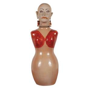"""ISABEL MENDES DA CUNHA - Mulher - Escultura em argila cozida pintada - 56 cm alt - Ass.loc. """"Santana Araçuai Itinga – MG"""""""