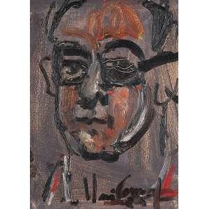 IBERÊ CAMARGO - Retrato de Cláudio Gil Óleo sobre madeira. Ass.dat. 1984 inf.dir, Ass.tit.dat. no verso. 35 x 25 cm. Com etiqueta do Cláudio Gil Studio de Arte.