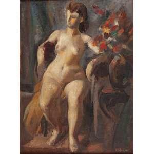 GASTÃO WORMS - Nu feminino Óleo sobre tela. Ass.inf.dir. 91 x 68 cm. C.1940.