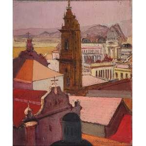 BRUNO LECHOWISKI - Paisagem Óleo sobre tela sobre madeira. Ass.dat. 1929 inf.dir. 53 x 43,5 cm.
