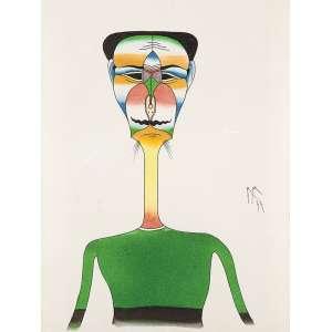 ROBERTO MAGALHÃES - Figura Nanquim e aquarela sobre papel. Ass.dat. 1977 lat.dir. 33 x 25 cm. Reproduzido no livro.