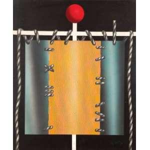MARIO GRUBER - Estandarte Óleo sobre tela. Ass.dat.1982 inf.dir. 90 x 75 cm.