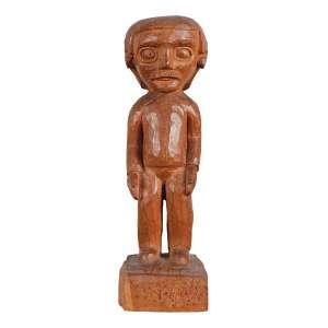 VÉIO (CÍCERO ALVES DOS SANTOS) - Figura Escultura em madeira. Ass. 25 cm altura.