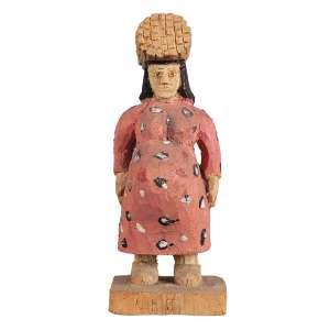 VÉIO (CÍCERO ALVES DOS SANTOS) - Camponesa grávida Escultura em madeira policromada, pintada. Ass. 20 cm altura.