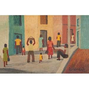 LORENZATO - Paisagem com figuras Óleo sobre eucatex. Ass.dat. 1981 inf.dir. 28 x 41 cm.