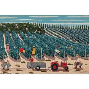 AGOSTINHO BATISTA DE FREITAS - Colheita da uva Óleo sobre tela. Ass.dat. 1992 inf.esq. 80 x 121 cm.