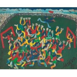 """JOSÉ ANTÔNIO DA SILVA<br>""""Jogando futebol""""<br> Óleo sobre tela.<br> Ass.dat.1983 inf.dir,Ass.dat. no verso.<br> 42 x 52 cm.<br> <br>"""