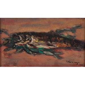 """TADASHI KAMINAGAI<br>""""Peixe""""<br> Óleo sobre cartão fixado sobre madeira compensada.<br> Ass.dat. 1949 inf.dir,ass.dat. no verso.<br> 46 x 26 cm.<br> Ex. Coleção Ruy Yamanishi.<br>"""