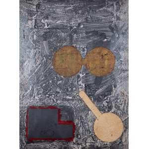 """ANTÔNIO DIAS<br>""""Sem titulo"""" - Série Laboratório Berlim.<br> Técnica mista sobre papel – (1989).<br> 90 x 70 cm.<br> <br> Com etiqueta de exposição realizada na galeria Luisa Strina – São Paulo em 1989.<br>"""