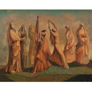 """CLÓVIS GRACIANO - """"Figuras humanas"""" - Óleo sobre tela - Ass.dat. 1950 lat.dir. 72 x 92 cm. Com etiqueta que a obra foi restaurada por Renta P.Wertheimer no verso."""