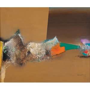 """MANABU MABE - """"Vento de outono"""" - Óleo sobre tela. Ass.dat. 1983 inf.dir,Ass.tit.dat. no verso. 60 x 73 cm."""