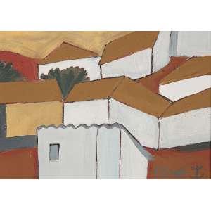 """FANG - """"Casario"""" - Óleo sobre tela – Ass.inf.dir, ass.dat. 1985 no verso – 18 x 24 cm."""