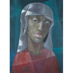 """HARRY ELZAS - """"Mulher de lenço"""" - óleo sobre tela – Ass.dat. 1976 inf.dir – 80 x 60 cm."""