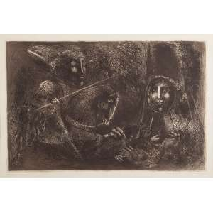 """MARCELO GRASMANN - """"Guerreiras"""" – gravura em metal – 10/50? – Ass.inf.dir – 44 x 65 cm."""