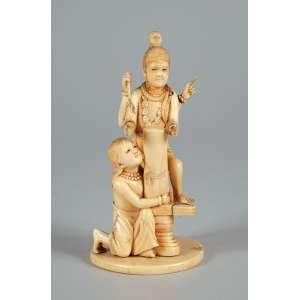 Grupo escultórico de marfim - Com deusa de quatro braços 14 cm de altura assinada em baixo. - Japão – Séc. XIX.