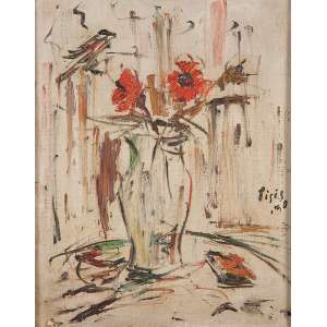 """FILIPPO DE PISIS - """"Vaso de flores"""" - Óleo sobre tela – Ass.dat.1950 na lat.dir. – 50 x 39 cm."""