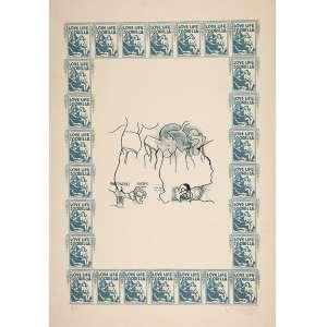 """NELSON LEIRNER - """"Love life of a gorilla"""" Gravura – PA. Ass.dat. 1968 inf.dir. 100 x 70 cm."""