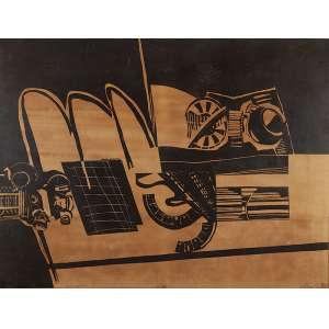 """MIRIAM CHIAVERINI - MIRIAM CHIAVERINI """"Sem titulo"""" Xilogravura sobre papel colado em madeira. 1/10. Ass.dat. 1967 inf.dir. XXIV. 83 x 113 cm. Com etiqueta da Bienal no verso."""