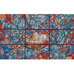 """FLEXOR - """"Projeto de vitral para residência da família Hollnagel"""" Guache sobre cartão. Ass.dat. 1952 inf.dir. 40 x 64 cm. O vitral encontrasse reproduzido na pág.97 do livro Sason Flexor: do Figurativismo ao abstracionismo/Alice Brill – editora MWM, São Paulo, 1990."""