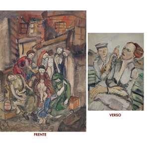 """LUCY CITTI FERREIRA - """"Retirantes"""" Guache sobre papel. Ass.inf.esq. 70 x 50 cm. Com desenho no verso."""