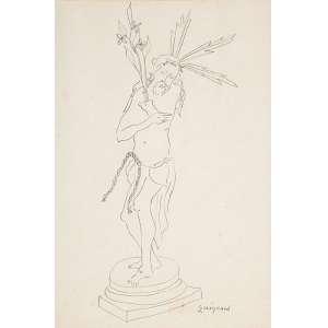 """GUIGNARD - """"Cristo"""" Desenho á lápis sobre papel. Ass.inf.dir. 29 x 20 cm."""