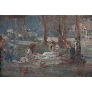 """ELISEU VISCONTI - """"Piquenique"""" Óleo sobre tela. Ass. dat. 1905,loc. """"Rio"""" inf. dir. 22 x 33 cm. Ex. Coleção Profº José de Almeida."""
