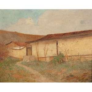 """ANTÔNIO PARREIRAS - """"Paisagem com casa"""" Óleo sobre madeira. Ass. inf. dir. 28 x 35 cm."""