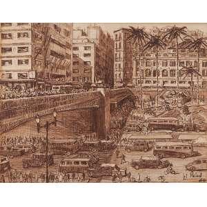 """AUTOR NÂO IDENTIFICADO - """"Viaduto do chá"""" Desenho á lápis de cor. Ass. dat. 1960 inf. dir. 40 x 52 cm."""