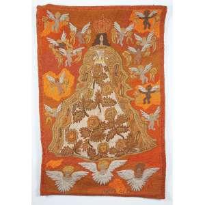 """MADALEINE COLAÇO - """"Santa e anjos"""" Tapeçaria. Ass. 116 x 77 cm."""
