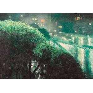 """GREGORIO GRUBER - """"Paisagem noturna"""" Óleo sobre tela. Ass. inf. esq. e dat. 1982 inf. dir. 100 x 140 cm."""