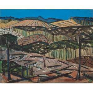 """INIMÁ DE PAULA - """"Queimada"""" Óleo sobre tela. Ass. dat. 1952 inf. dir. 81 x 100 cm."""