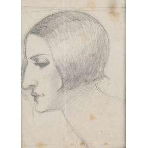 """ISMAEL NERY - """"Mulher de perfil"""" Desenho á lápis sobre papel. Sem Ass. 9,5 x 7 cm. Ex. Coleção Sylvia Sodré Assumpção. Com assinatura inventariante Maria Lacerda no verso."""