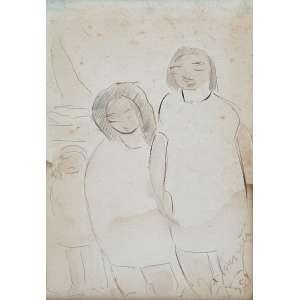 """JOSÉ PANCETTI - """"Figuras e barcos"""" Grafite e guache sobre papel. Ass. dat. 1954 inf. dir. 16 x 11 cm. Ex. Coleção Sylvia Sodré Assumpção."""